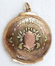 Antique Victorian 14K Tri-Color Gold Fob Pendant, Repousse Flower Urn, Shield
