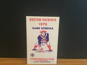 1970 Boston Patriots schedule Commonweslth Bank.Rare