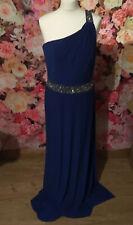 Vestido de Noche Celebrity Azul Con muchas Cuentas Baile de graduación Ocasión Talla 14