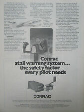 4/1977 PUB CONRAC STALL WARNING SYSTEM BUSINESS COMMERCIAL AIRCRAFT ORIGINAL AD
