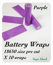 Envolturas de batería púrpura X 10 piezas para 18650 PVC Manga Termocontraíble pre corte