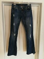 Womens Juniors Almost Famous Destroyed Distressed Blue Denim Jeans Size 3