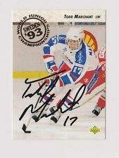 92/93 Upper Deck Todd Marchant Team USA Autographed Hockey Card