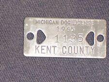 Vintage Dog Tax Tag License Kent County Michigan MI year 1965   #1135       DO18