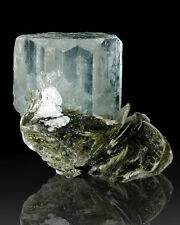 "2"" UltraGemmy UltraSharp Blue AQUAMARINE Crystal w/Muscovite Pakistan for sale"
