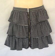 Ladies Layered Skirt Size 10 Lushaus Black Grey Stripe Stretch Cotton Zip Front
