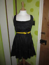 Firetrap Black Empire Line Flared Dress size Large (Orense GKAP05) 100% Viscose