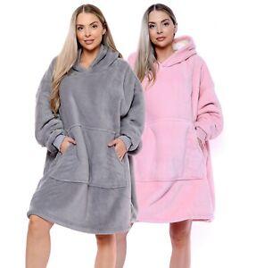 Womens Ladies Oversize Plush Hooded Sherpa Lined Blanket Hoodie - Pink Grey