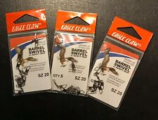 Eagle Claw Barrel Swivel & Safety Snap, Size 20  #01042-020 - 3 Packs, 24 Pieces