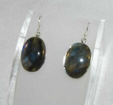 Labradorite Flashy Large Oval Earrings 925 Sterling Silver
