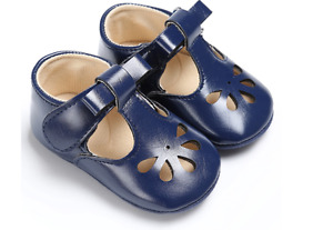 Newborn Baby Boy Girl Soft Sole T- Bar Crib Shoes Toddler Mary Jane Shoes 0-18 M