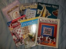 Lof 6 Cross Stitch Pattern Magazines fruit Veggies Garden Excellent Wife Sampler