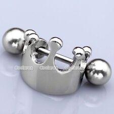 1pc 16G Steel Crown Shield Ear Helix Cartilage Cuff Ring Earring Punk Piercing