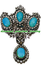 925 STERLING SILVER ROSE CUT NATURAL DIAMOND & TURQUOISE VINTAGE LOOK BROOCH