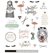 2 Sheets Trendy Happy Girl Inspirational Stickers Papercraft Planner  Journal