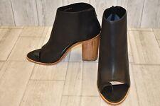 Loeffler Randall Gigi Open Toe Leather Booties, Women's Size 9.5B, Black NEW