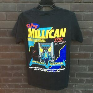 NHRA Drag Racing Graphic T-Shirt Small Black Clay Millican Werner Dragster 90s