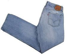 LEVIS Blue Jeans 514 33x33 Slim Straight Distressed Cotton Denim Light Whiskers