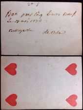 1776 American Revolution Era Paper Playing Cards Promissory Scripted Document