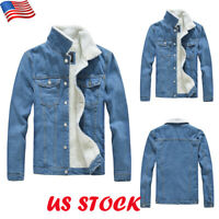 New Men's Winter Jeans Denim Fur Lined Trucker Jackets Warm Fleece Coats Outwear