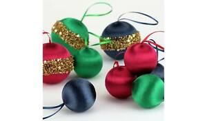 9 Pack of Enchanted Christmas Satin Navy, Green and Exotic Pink Baubles