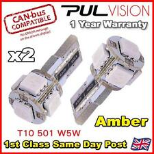 2 x ERROR FREE CANBUS 5 SMD CAR LED W5W T10 501 INDICATOR LIGHT BULBS - AMBER
