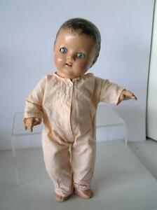 1930's BABY doll Composition Jointed Body ,Sleep Eyes, Open Mouth, teeth, romper