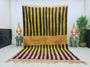 "Vintage Moroccan Boujaad Handmade Rug 6'4""x9'9 Berber Patchwork yellow Black Rug"