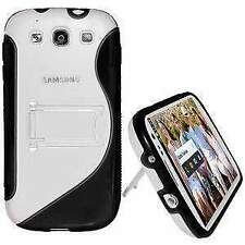 NEW AMZER BLACK SLIM SOFT HARD TPU WITH STAND FOR SAMSUNG GALAXY S3 III GT-I9300