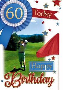 Age 60 Male Golf Birthday Card. 60 Today Happy Birthday Card
