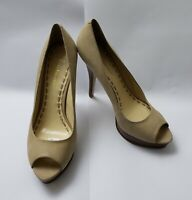 Enzo Angiolini Shoes Pumps Heels Peep Toe Beige Sully Womens Size 9 M