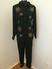 New Quacker Factory M Pants Top Set Snowflake Stretch Moleskin Gold Rhinestone