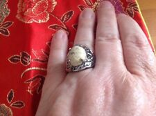 Picture Jasper Solitaire 9.350Cts Ring In ION Plated Silver Bond Size N