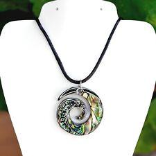 Wave Pendant on an Adjustable Cord Paua Abalone Shell Maori Koru Infinity Spiral