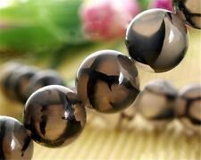 8mm Black Dragon Veins Agate Round Gemstone Loose Beads 15''AAA#C80