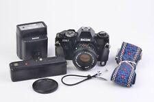 EXC++ RICOH XR-7 35mm SLR CAMERA w/50mm F2, WINDER, FLASH, STRAP, CR, MANUALS++