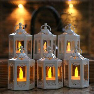 6 Small White Hexagon Lanterns Wedding Table Decor Centerpiece MW36972