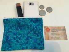 Aqua Retro Circles Australian made Make up purse Organiser 14 x10 cm