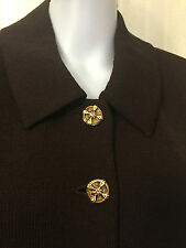 St. John Jacket Blazer Sweater Brown Size 6 Beautiful Buttons