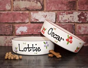 large 25cm dog bowl personalised ceramic pet bowl hand Painted dog bowl dish