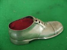 SUPERB RARE ANTIQUE STERLING SILVER HALLMARKED 1919 LARGE BOOT SHOE PIN CUSHION