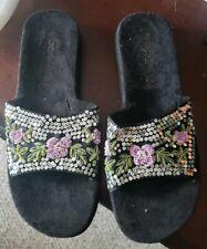 New Cudas Women's sequined beaded floral slide Sandals Suede Sz 11