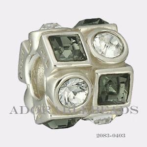 Authentic Chamilia Silver Circle and Square Black & White Bead 2083-0403