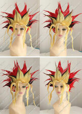 Yugioh Spiel Muto COS Wig New Short Red Black Yellow Mix Cosplay Party Anime Wig