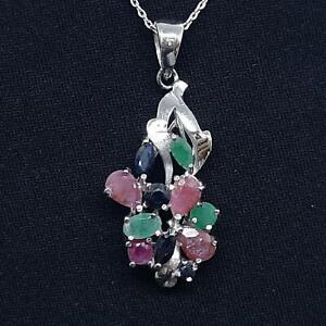 World Class 2.20ctw Ruby, Emerald & Sapphire 925 Sterling Silver Pendant 3.3g