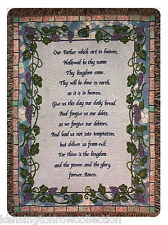 """THROWS - THE LORD'S PRAYER TAPESTRY THROW - 50"""" X 60"""" THROW - GRAPEVINE BORDER"""