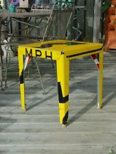 Boris Bally Side Table Made from Retired Dot Street Signs, Signed, 18x18x20
