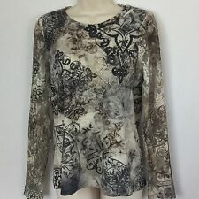 CHICO'S knit top Size 0 Multi-color long, lace sleeves