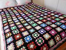 SALE! Vintage Crochet GRANNY SQUARE Black Afghan BEDSPREAD BLANKET 54x78