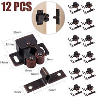 12X Vintage Brown Strong Double Roller Catch Door Latch Cabinet Cupboard RV Boat